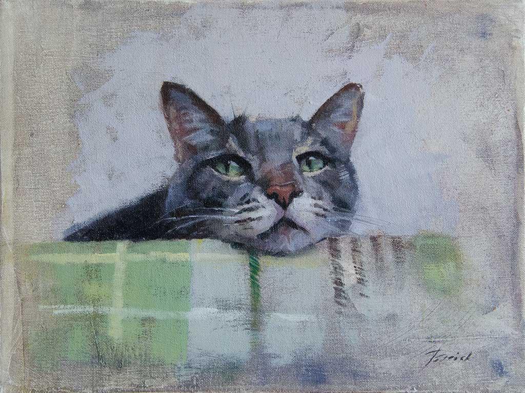 Patrick Saunders Fine Arts Cat Portrait Painting Oil On Canvas Ken