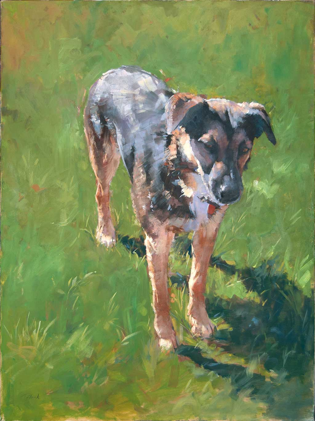 Patrick saunders fine arts dog portrait painting oil for Animal oil paintings