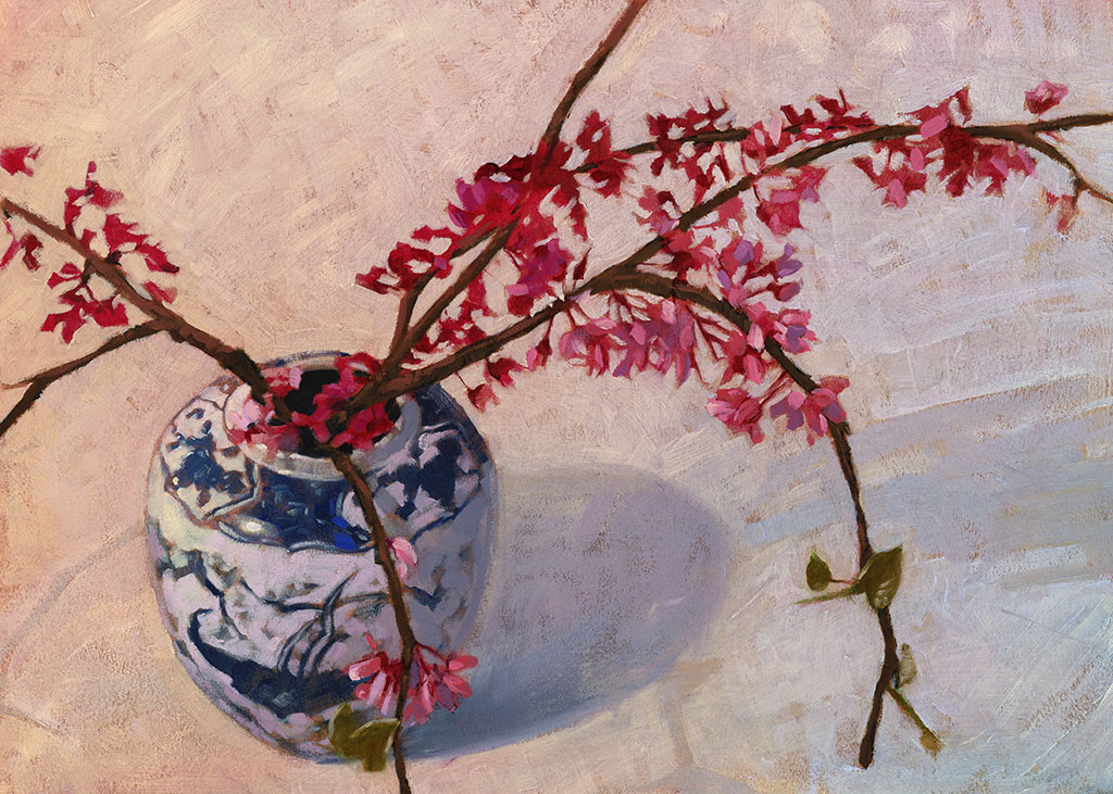Japanese watercolor cherry blossoms the for Cherry blossom mural works